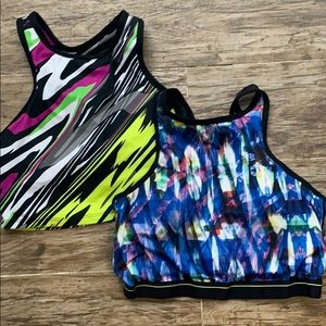 2 Colorful Fabletics Crop Tops/ Sports bras in XS